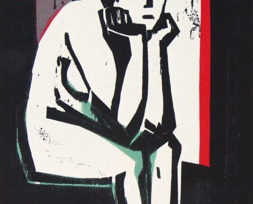 Michael Möbius, In Gedanken, 2016, Farbholzschnitt, 29,5 x 21 cm