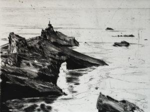 Andrea Ackermann, Rocher de la vierge – Biarritz, 2016, Kaltnadelradierung, 14 x 24 cm
