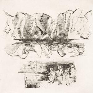 Axel H. Bertram, Passage-Vieruhrfünfzehn, 2015, Kaltnadelradierung, 29,5 x 29,5 cm