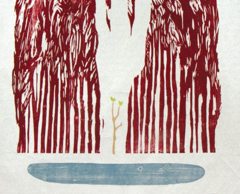 Markus Bläser, Lichtung (Augentrost), 2016, Farbholzschnitt, 50 x 50 cm