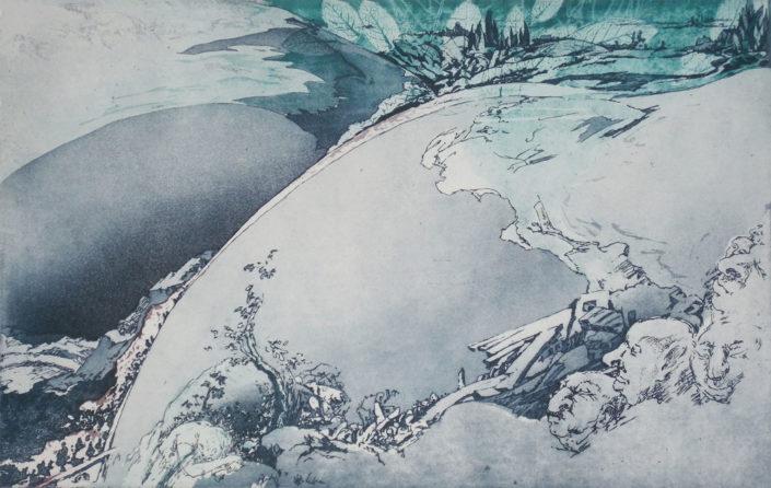 Gunter Böttger, Himmelsleiter 2016, 2016, Radierung – Reservage, Strichätzung, Vernis mou, Aquatinta, 31 x 49 cm