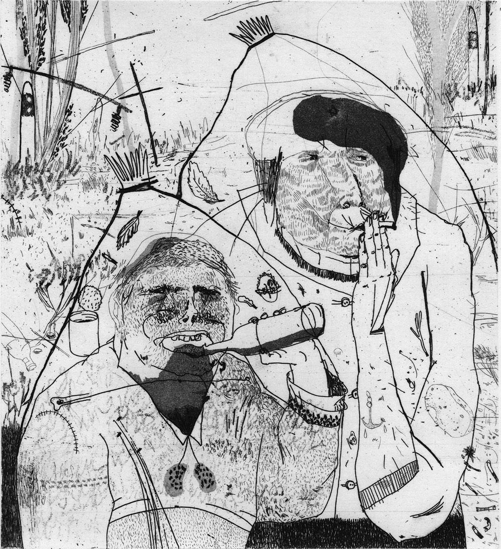 Sarah Deibele, Randbeziehung, 2015, Radierung, 21 x 26 cm