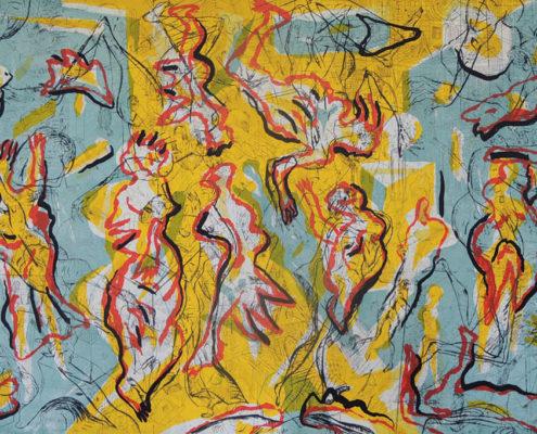 Andreas Dress, Große Öffnung, 2015, Farbradierung/Farbserigrafie, 69 x 99 cm