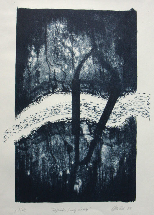 Ola Eibl, Flussbrücken, 2016, Lithografie, 25,5 x 34 cm