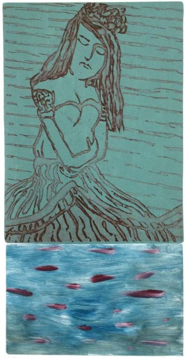 Gabriela Francik, unterwegs, 2015, Reservage-Monotypie, 37 x 19 cm