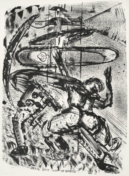 Sighard Gille, Herr, die Not ist groß, 2015, Lithografie, 31 x 42 cm