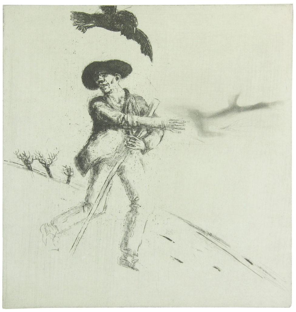 """Ullrich Hachulla, Wanderer – nach: """"Die Winterreise"""" (Die Krähe) von F. Schubert, 2015/16, Strichätzung/Aquatinta, 42 x 39,5 cm"""