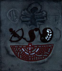 Erich Wolfgang Hartzsch, Meerenge, 2016, Holzdruck, Lederdruck, Prägedruck, Tusche graviert, 35 x 30,5 cm