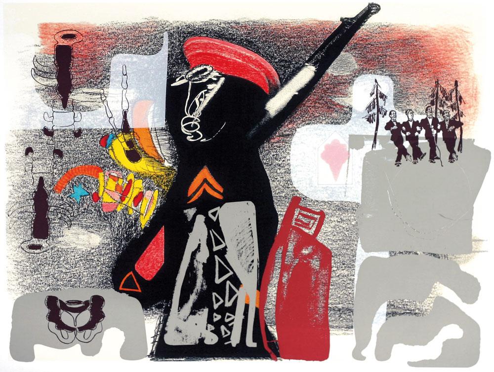 Wolfgang Henne, Totentanz in der Kriegspassage, für Kurt Tucholsky I, steifer Gruß, 2015/16, Dreifarbsiebdruck/Matrixdruck im dkf-Verfahren, 60 x 81 cm