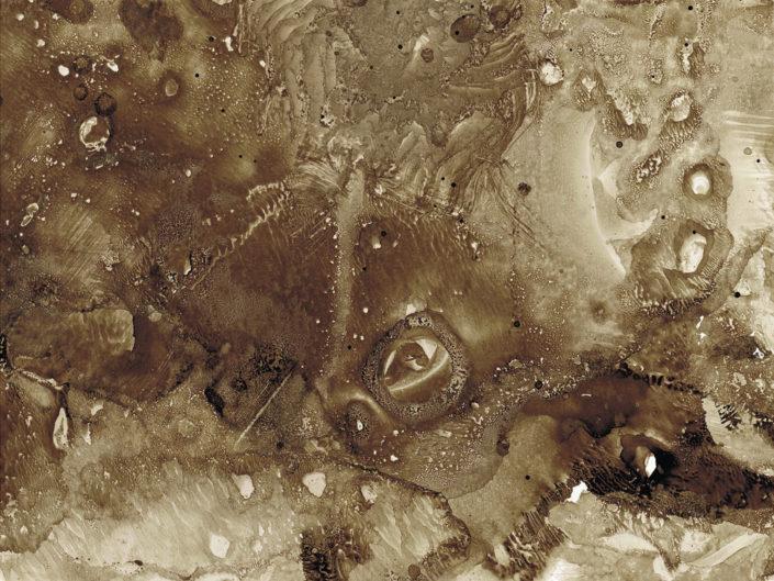"""Uwe Klos, Aus dem Zyklus """"Episodische Landschaft"""", #3, 2015, Monotypie, 15 x 20 cm"""