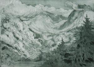 Katrin Kunert, Hochplateau, 2015, Farbradierung (Aquatinta, Vernis mou, Kaltnadel), 20 x 27,5 cm