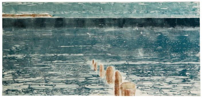 Mandy Kunze, Flow, 2016, Farbholzschnitt/Handabzug auf Japanpapier, 100 x 200 cm