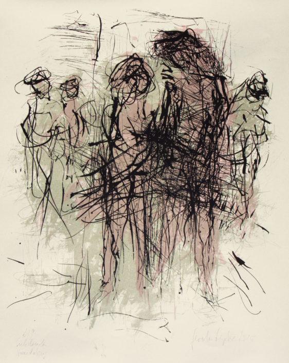 Gerda Lepke, Begegnung/Straßenszene, 2015, Siebdruck, farbig, 77 x 63 cm
