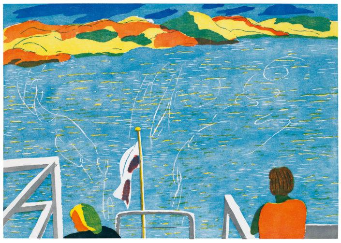 Gudrun Petersdorff, Entfernung, 2016, Farbholzschnitt, sechsfarbig, 49 x 70 cm
