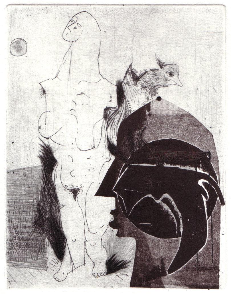 Tanja Pohl, Passagiere II, 2016, Strichätzung, Kaltnadel, 16 x 12 cm