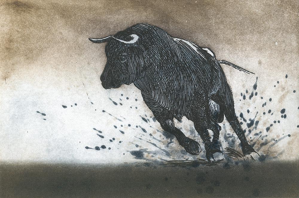 Matthias Steier, Der Durchbruch, 2014, Radierung/Auqatinta, 19,5 x 29,5 cm
