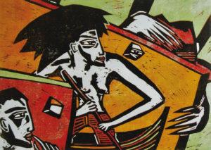 Klaus Süß, Die Passage, 2016, Farbholzschnitt (verlorene Form), 50 x 70 cm