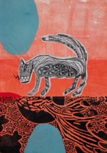 Christiane Werner, – nice to meet you –, 2016, farbiger Kombinationsdruck, Linolschnitt/Holzschnitt, 70 x 48,5 cm