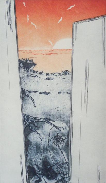 Constanze Zorn, Überfahrt, 2016, Radierung/Aquatinta, 49 x 28,5 cm