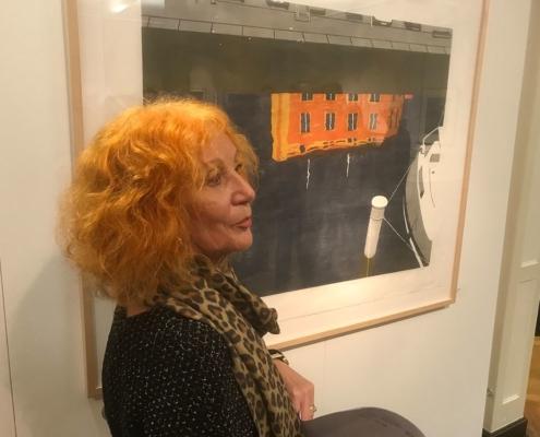 Vereinsmitglied Ingrid Katzmarski-Leps zur Eröffnung der 35. Grafikbörse